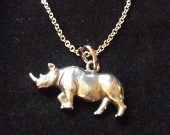 """Rhino W9 Pewter On a 16"""" 18"""" 20"""" 24"""" inch Silver Plated Curb Chain Necklace"""