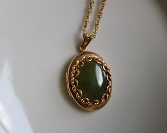 Vintage Gold Tone Locket with Jade on a Gold Filled Chain