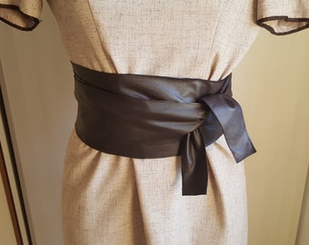 Brown Leather Sash Belt Wrap Belt Obi Belt