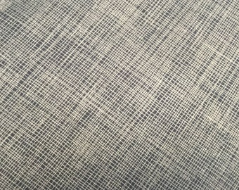 Cross Hatch cotton fabric navy with silver crosshatch by Timeless treasures 2959