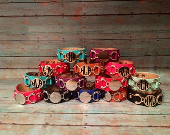 Personalized Monogram Leather Bracelet! Sale!