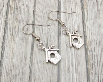 Earrings - Pewter Birdhouses