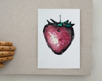 Original strawberry ink drawing on paper, modern strawberry ink painting, strawberry illustration kitchen wall art decor by Cristina Ripper