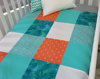 Blanket Quilt blanket for babies - size crib - anchor - coral - aqua - ocean