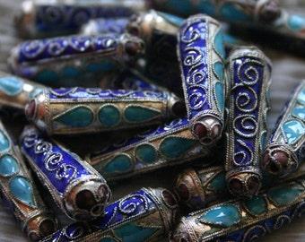 SALE Blue Petals and Silver Teardrops  - Floral Cloisonne beads (2)