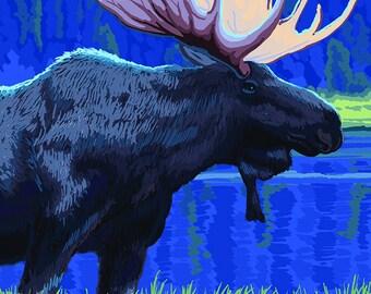Moose at Night - Spokane, Washington (Art Prints available in multiple sizes)