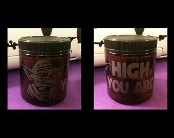 Custom Etched Glass Medical Dispensary Stash Jar - Yoda