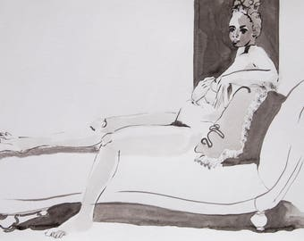 Woman Figure Study Black and White Ink Painting