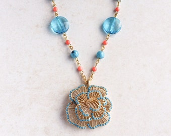 Turquoise Coral Flower Necklace, Blue Orange Statement Necklace