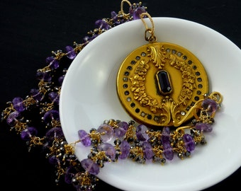 Antique art nouveau locket and amethyst gemstone necklace, handmade by Lush Baubles on etsy.