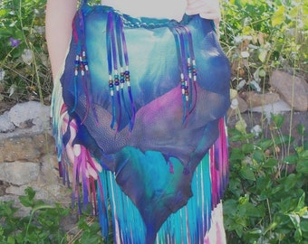 "Designer Leather Purse ""AURORA BOREALIS"" COMICON Fringe Handbag Artisan Hippie Retro Beaded Bag Handmade by Debbie Leather"