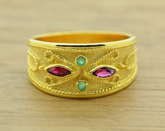 Anniversary Ring For Her, 14K Solid Gold Byzantine Ring, Marquise Gold Ring, High Quality Gold Ring, Greek Jewelry, Yellow Gold Ring