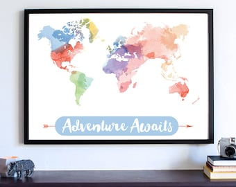 Watercolor Print, Adventure Awaits, Travel Map, World Map Watercolor Print, Large World Map, Office Art Print, Home Decor, Fine Art Print