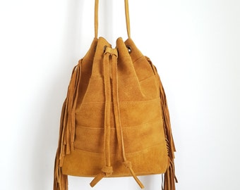 Ladies Bucket Bag / Handbag/Crossbody Tan Suede - Tan