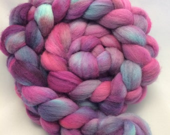 Hand Dyed Roving - Purple Haze - 4 oz - 100% Merino