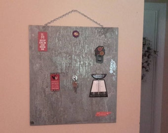 """Primitive galvanized steel wall hanging message board and magnet board.  Magnets not included.17-3/4""""× approximately 20""""."""