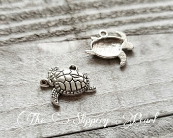 Sea Turtle Charms Turtle Pendants Silver Turtle Charms Sea Charms Ocean Charms Nautical Charms Summer Charms Vacation Charms 10 pcs