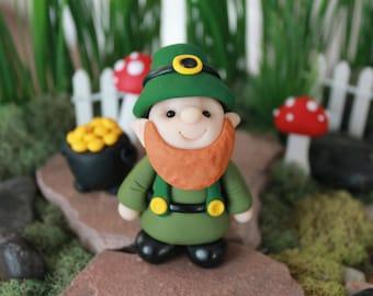 St. Patrick's Day Leprechaun - Polymer Clay -  St. Patrick's Day - Terrarium Accessory - Fairy Garden - Miniature Garden