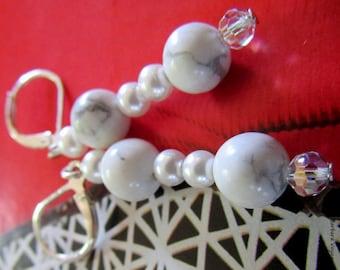 White wedding earrings silver sleepers pearls 925