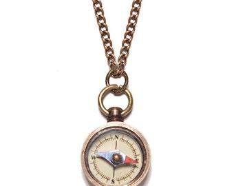 Men's Jewelry - Miniature compass - necklace - Antiqued bras chain for men- unique small functional compass pendant for men-gift for men