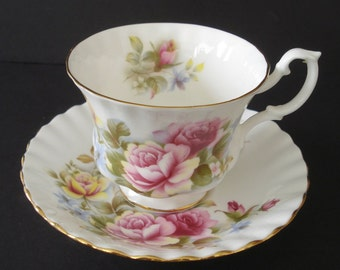 Royal Albert Bone China Cup Saucer Set - Pink and White English Rose Bouquet - Tea Party!