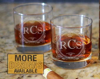 Monogrammed Whiskey Glass, Personalized Barware, Laser Etched Whiskey Glass, Personalized Whiskey Gift, Whiskey Lover Gift, Bourbon Glass