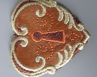 Embroidered Leather Heart Steampunk Applique