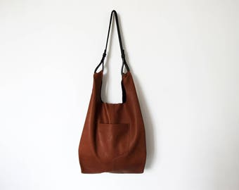 Brown leather tote crossbody- shopper leather bag- SALE slouchy leather tote brown leather shopper handbag handmade brown leather tote women