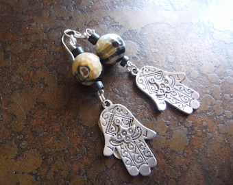 Spotted Hamsa Jasper and Wood AS Beaded Dangle earrings