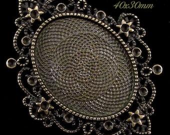 "40x30mm Antique Bronze Setting - ""Enchantment II"" - 1 pc : sku 05.04.13.13 - V12"