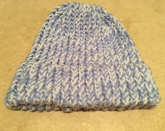 Adult Hat- Light Blue and white