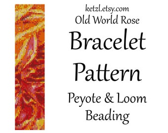 Loom Beading Patterns and Peyote Bracelet Patterns Stitch Pattern Rose Orange Yellow Pink Flower with Word Chart Bead Weaving Graph