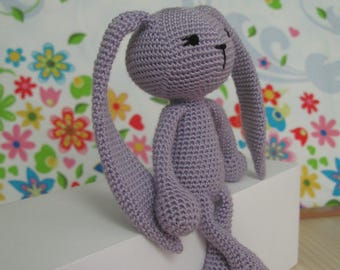 crochet bunny doll kids Easter toy bunny toy nursery decor Cute bunny plush toy babies lavender bunny softie