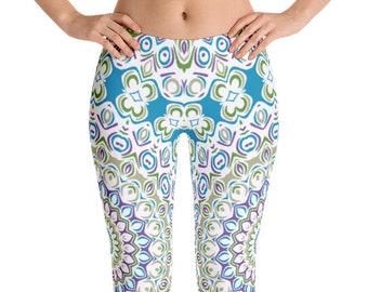 Mid Rise Yoga Wear Leggings, Printed Yoga Pants, Unique Mandala Tights, Ocean Blue and Sea Green Boho Beach Leggings