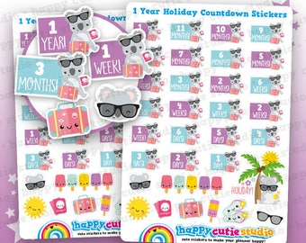 32 Cute Holiday/Vacation/Yearly Countdown Planner Stickers, Filofax, Happy Planner, Erin Condren, Kawaii, Cute Sticker, UK