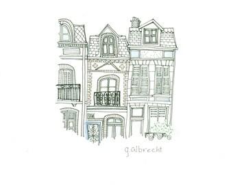 Deauville Street View  | Illustration | 8X8 art print