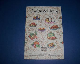 Vintage 1950's Booklet, Kitchen Tips, Food For the Family by Metropolitan Life Insurance Company
