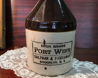 Port Wine Salzman & Siegelman Brooklyn NY Jug