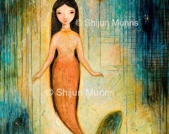 Mermaid art print, Mermaid with Balloon, blue giclee prints by Shijun Munns-Art gift-Fantasy wall art-Oil painting print