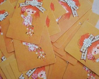 Vintage Little Girl Playing Cards - Set of 12 - Vintage Cards, Vintage Children Cards, Scrapbooking Ephemera, Card Ephemera