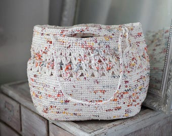 Rustic Plarn Bag Crochet White Orange from Market Bags OOAK Purse Ecofriendly Upcycled Handbag Summer Big Beach Shopping Big Tote