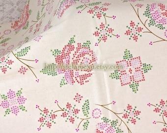 Cross Stitched Style Rose Floral Garden - Retro Unbleached Cotton Fabric (Fat Quarter)