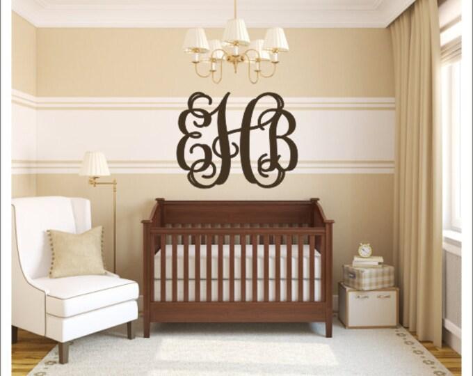 Vine Monogram Decal Vinyl Wall Decal Large Personalized Preppy Nursery Bedroom Wall Decor Housewares Everything Else