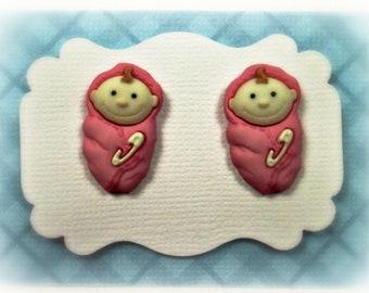 Baby Girl Earrings, Baby Shower Gift,  Earrings Women's Earrings Ladies Earrings Jewelry Button Post Stud Earrings