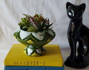Vintage Mid Century Pedestal Planter, Green, Yellow, & White, Ceramic, Italian Pottery