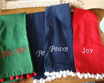 Vintage Christmas kitchen towels with embroiderey red blue and green Ho Ho Ho Peace Joy Christmas decorative cotton towels