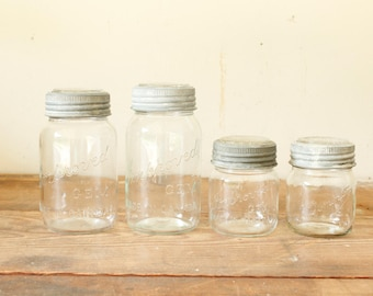 Vintage Canadian Canning Jars Set of 4 Kitchen Canisters Pantry Rustic Decor Open Shelving