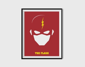 The Flash Print - Minimalist, DC Comics, Comic Print, Superhero Wall Art