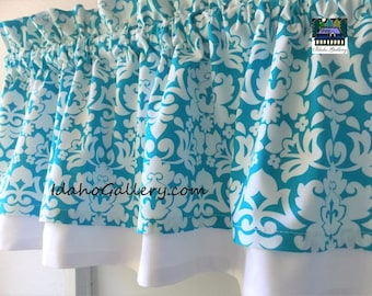 "Turquoise and White Curtain Tropical Theme Double Layered Valance Kitchen Curtain Bedroom Curtain Short 11"" Long Curtain"