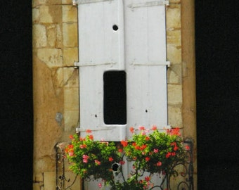 Single Switchplate Cover - Shutters and Flowers in Domme France